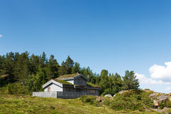 Typical norwegian building with grass on the roof Stock Images