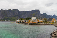 Typical norwegian fishing village Royalty Free Stock Photos