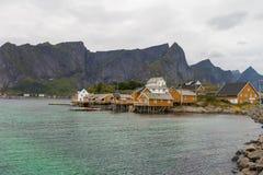 Typical norwegian fishing village. Lofoten Islands, Noway Royalty Free Stock Photos