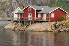 Typical norwegian fishing village with traditional huts Royalty Free Stock Images