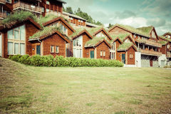 Typical norwegian house with grass on the roof Royalty Free Stock Photo