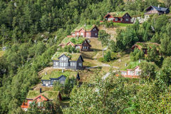 Typical norwegian house with grass on the roof Royalty Free Stock Images