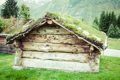 Typical Norwegian house with grass on the rooftop Royalty Free Stock Photos