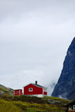 Typical Norwegian house. Typical red Norwegian house between high mounatins in summer Stock Photos