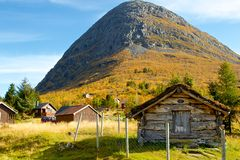 Typical norwegian mountain village scenery Stock Photos