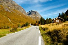 Typical norwegian mountain village scenery Royalty Free Stock Image