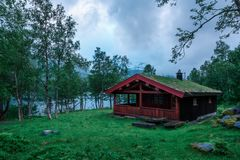 The grass-roofed houses in Norway. Typical norwegian old wooden houses with grass roofs near forest lake, Norway Stock Images