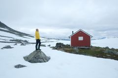 Typical norwegian red wooden house Stock Images