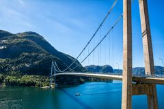 Typical Norwegian view of the bridge across the fjord. Colorful Royalty Free Stock Photography