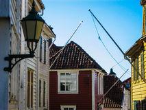 Typical Norwegian wooden houses in the center of Bergen, Norway Royalty Free Stock Images