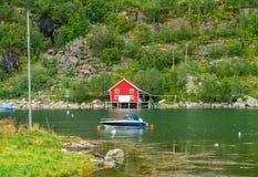 Typical Norwegian wooden hut in Ersfjordbotn village stock photography