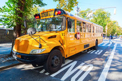 Typical NYC yellow school bus in Manhattan, NYC Stock Photos