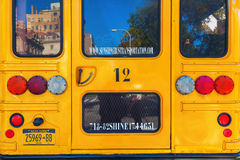 Typical NYC yellow school bus in Manhattan, NYC Stock Image