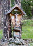 Typical old Christian Wayside Shrine at a country road Royalty Free Stock Photo