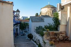 Typical Old Church and a small Streets in a Small Touristic Greek Town of Chora in Greece in the Summer, Alonissos Island Part of. The North Sporades, Region royalty free stock photography
