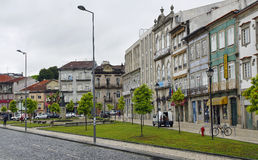 The typical old colorful tenement. Braga, Portugal Stock Images