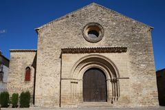 Typical old European stone church. Example of a Romanesque church of the medieval era that spread through Spain in antiquity Stock Image