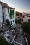 Typical Old Greek Houses and a View of a Small Greek Town of Chora in Greece in the Summer, Alonissos Island Part of the North Spo. Rades, Region Thessali in the stock photography