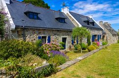 Typical old house and hydrangea flower in Brittany. France Royalty Free Stock Photos