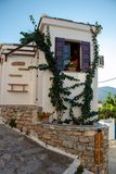 Typical Old House at a Square in a Small Greek Town of Chora in Greece in the Summer, Alonissos Island Part of the North Sporades, stock image
