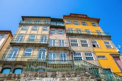 Typical old houses at Ribeira district, Porto, Portugal stock images