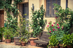 Typical old italian village street , Tuscany, Italy. Stock Images