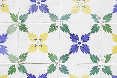 Typical old Lisbon tiles. Detail of a classic ceramic tiles, art of Portugal royalty free stock photo