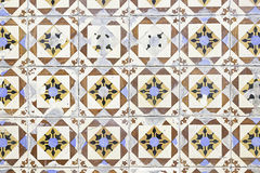 Typical old Lisbon tiles. Detail of a classic ceramic tiles, art of Portugal stock photography