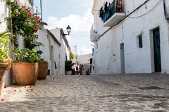 Typical old Mediterranean alley between old houses Stock Image