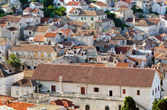 Typical old Mediterranean town. With stone brick houses Stock Photos