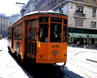 Typical old Milan tram Royalty Free Stock Photo