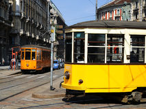 Typical old Milan trams Royalty Free Stock Photos