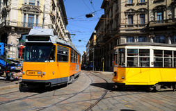 Typical old Milan trams Stock Photography