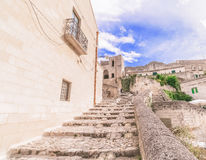 Typical old stairs view of Matera under blue sky Stock Photos