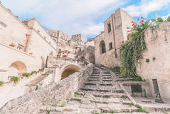 Typical old stairs view of Matera under blue sky Stock Photo