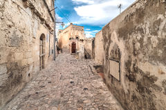 Typical old street view of Matera under blue sky Stock Photo