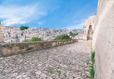 Typical old street view of Matera under blue sky Royalty Free Stock Image
