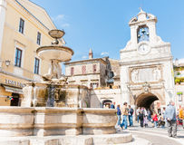 Typical old town square, Italy. Royalty Free Stock Images