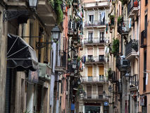 Typical old town street in Barcelona stock photo