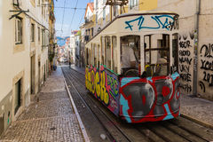 Typical old tram in Lisbon, Portugal. It is a great tourist attraction royalty free stock images