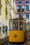 Typical old tram in Lisbon, Portugal. It is a great tourist attraction stock photo