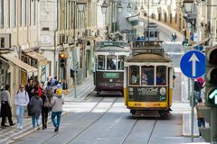 Lisbon typical tram cityscape, Portugal. Typical old tram, trams in the city Lisbon, the capital of Portugal. Typical european arcitecture of Lisbon cityscape royalty free stock photos