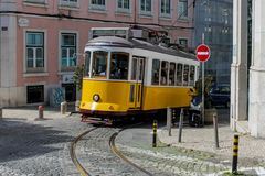 Lisbon typical tram cityscape, Portugal. Typical old tram, trams in the city Lisbon, the capital of Portugal. Typical european arcitecture of Lisbon cityscape royalty free stock image