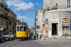 Lisbon typical tram cityscape, Portugal. Typical old tram, trams in the city Lisbon, the capital of Portugal. Typical european arcitecture of Lisbon cityscape royalty free stock photo