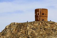 Typical Oman Watchtower with cellular and microwave antennas Stock Photos