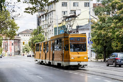Typical orange tram in the center of Sofia,Bulgaria Royalty Free Stock Photo