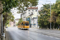 Typical orange tram in the center of Sofia,Bulgaria Royalty Free Stock Image