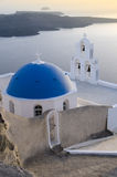 Typical orthodox church on the island of Santorini Stock Photo
