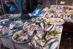 Typical outdoor Italian fish market with fresh fish and seafood,. NAPLES, ITALY - MAY 7, 2015: Typical outdoor Italian fish market with fresh fish and seafood on royalty free stock images