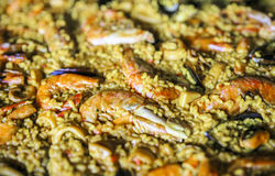 Typical paella with seafood and rice stock photos